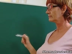 Marisa and her sexy schoolmate are staying after class with their older lesbian teacher