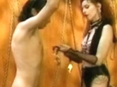 Vintage Femdom Olivia Outre with Male Thrall
