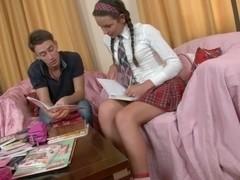 Sexy Schoolgirl Studying Anatomy With Her Stud