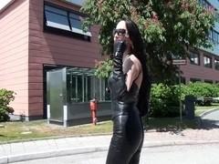 A Diva walking in leather panties