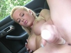 Busty Cindy Dollar car back seat masturbation at public