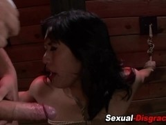Mouth fucked asian ### gags on dick