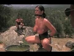 Curvy brunette in kinky MMF threesome outdoors