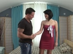 Short haired brunette does a real professional blowjob