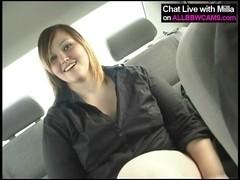BBW nude in the car