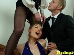 Piss covered fetish skanks cum swapping