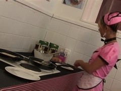 Sexy maids with nice cleavage seduces and get in a group sex while in the kitchen