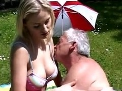 giant tits blonde fucked by old man on garden