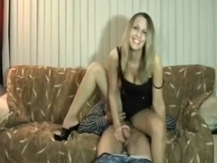 My magnificent tall blondie knows how to use her hands