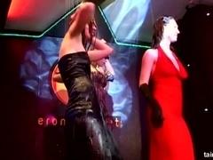 Excited lesbian pornstars dancing wet