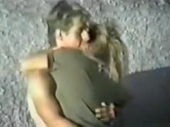 Voyeur tapes a horny blonde having sex at the beach