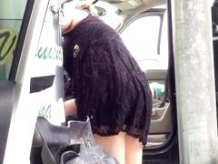 Car wash babe black dress 1