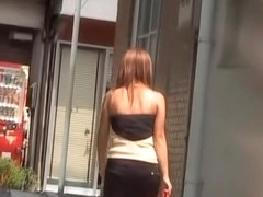 Fabulous Asian tart gets involved in street sharking while typing text message