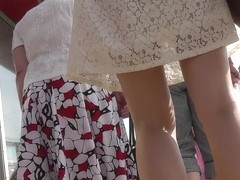 Babe in short airy dress in spy upskirt voyeur movie