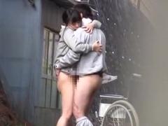 Horny Japanese nurse sucks cock in front of a voyeur