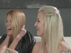 Four lesbian teens having fun