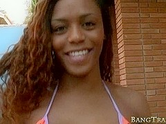 Black tranny Viviane Silva anal pounded and cum facialed