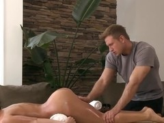 Sweet Aleksa Nicole called Bill Baley at home for an oiled naked massage