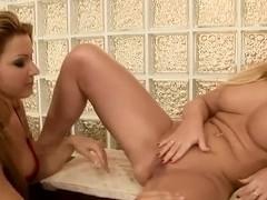 Sarah Simon is taught hard lesbian fucking