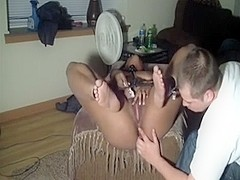 Interracial snatch fingering at home
