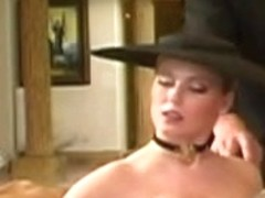 British whore Michelle B in a double penetration scene in nylons