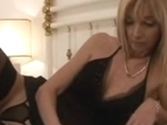 Sweet skinny MILF seduced by younger guy on the bed