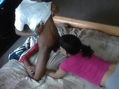 Ebony beauty does hot blowjob
