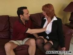 Busty amateur Milf sucks and fucks with cumshot