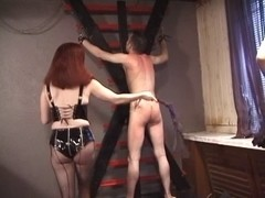 Truly mean servitude babes in latex paddle tied fella's arse