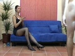 Femdom spunk flow on nylon to clean up