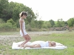 Nasty trio outdoor with Bella and Gina so sexy