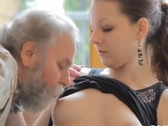 Sexy young couple invite to have sex old guy