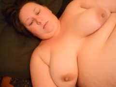 BBW emma and paul masturbate together blowjob cum on tits soaking wet pussy