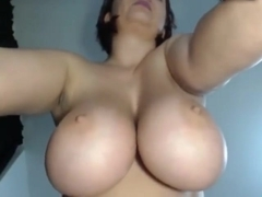 Big hanging tits upclose and slapped
