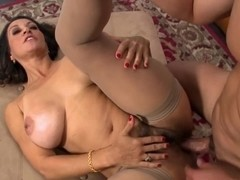 Beautiful mom with big boobs, hairy cunt & guy