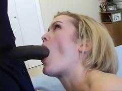 Blond hottie sucks and copulates a dark cock