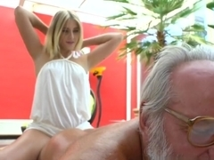 Teen Rides Grandpas Old Dick for Cumshot After Blowjob