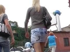 Voyeur upskirt of blond chicks