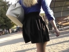 Dirty upskirt porn with a skinny blonde bombshell