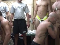 Horny gay soldiers head indoors for a steamy gay gangbang