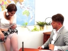 Slutty schoolgirl with big tits, Alica Wayne knows how to pass the exam without studying for it