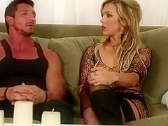 Sexy blond MILF in stockings and boots does sexual healing
