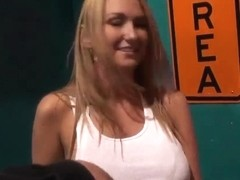 Busty blonde babe is a fan of glory holes