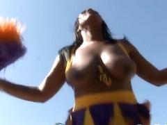 Busty ebony cheerleader pussyfucked outdoors
