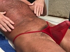 sunbathing horny hairy daddy