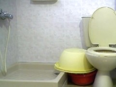 Blonde chick shows her pussy on a hidden toilet camera