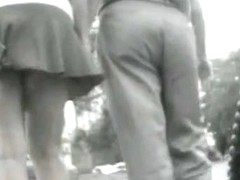 Beautiful chick's skirt was blown up on voyeur cam