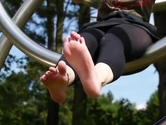 Playful feet in the park