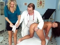 Two hot czech girls visit kinky gyno doctor