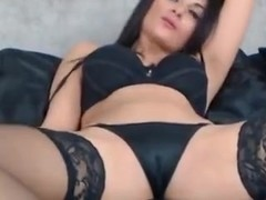 Raven Haired Milf Teases In Bra & Stockings